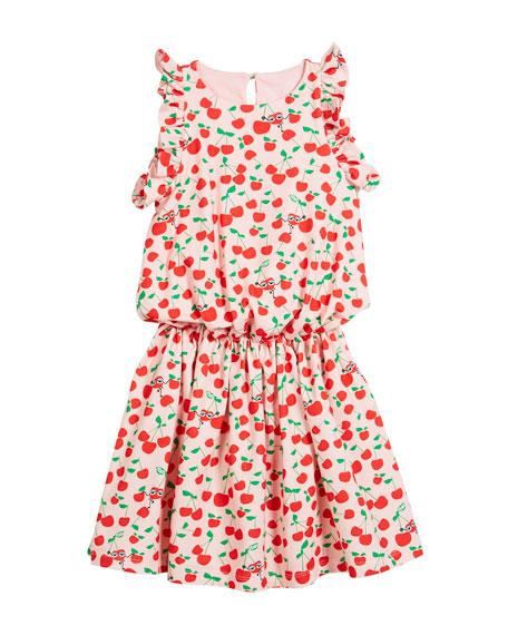 Cherry-Print Sleeveless Ruffle Dress, Size 6-8