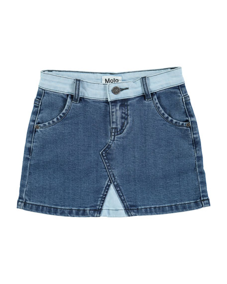 Molo Bel Collage Denim Mini Skirt, Size 3T-14