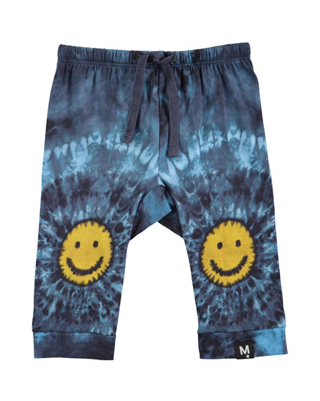 Molo Sabble Tie-Dye Soft Pants w/ Smiley Face