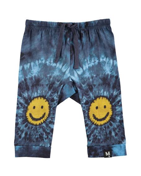 Molo Sabble Tie-Dye Soft Pants w/ Smiley Face