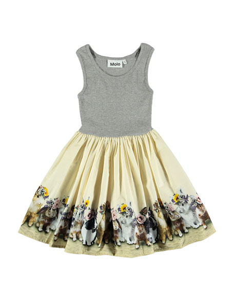 Molo Cassandra Sleeveless Dress w/ United Bunnies Skirt,
