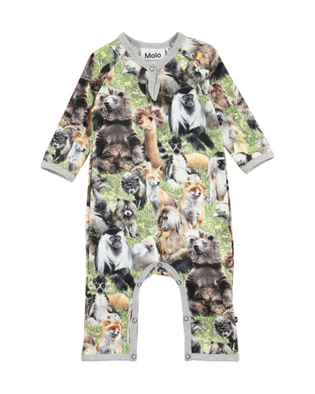 Molo Fleming Hairy Animals Jersey Coverall, Size Newborn-9