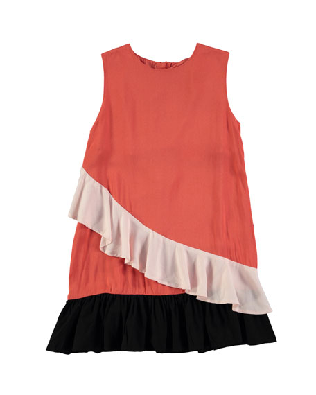 Molo Calante Burnt Sienna Sleeveless Ruffle Dress, Size