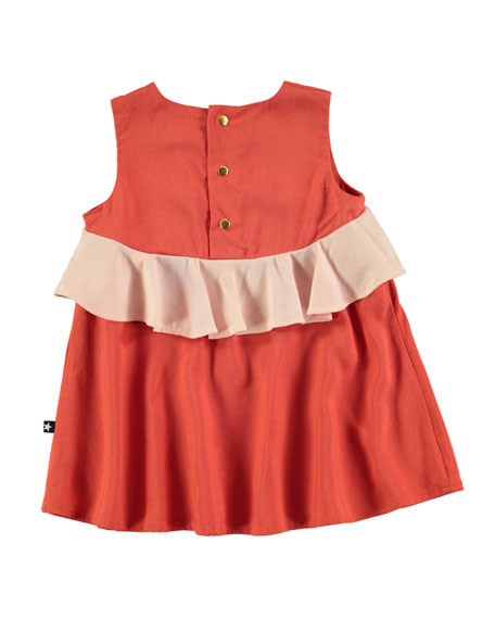 Catja Burnt Sienna Sleeveless Dress w/ Contrast Ruffle, Size 6-24 Months