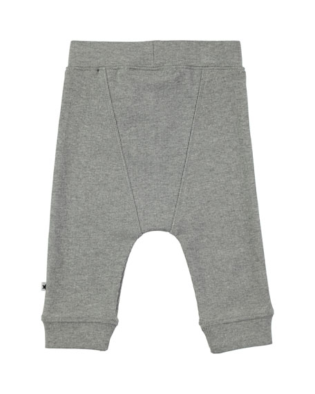 Simpson Grey Melange Cotton-Blend Ribbed Soft Pants, Size 6-24 Months