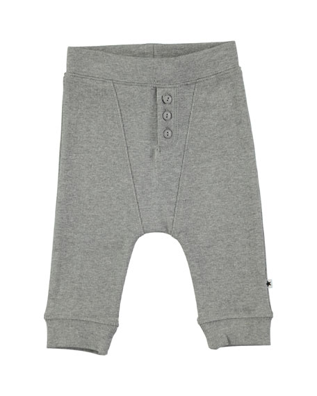 Molo Simpson Grey Melange Cotton-Blend Ribbed Soft Pants,