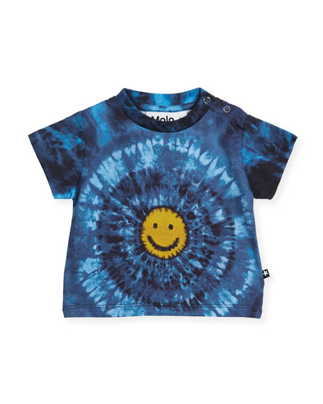 Molo Emilio Short-Sleeve Tie-Dye Smiley Face T-Shirt, Size