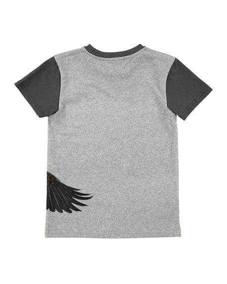 Raven Short-Sleeve Jersey T-Shirt w/ Eagle Graphic, Size 4-10