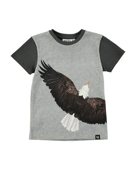 Molo Raven Short-Sleeve Jersey T-Shirt w/ Eagle Graphic,