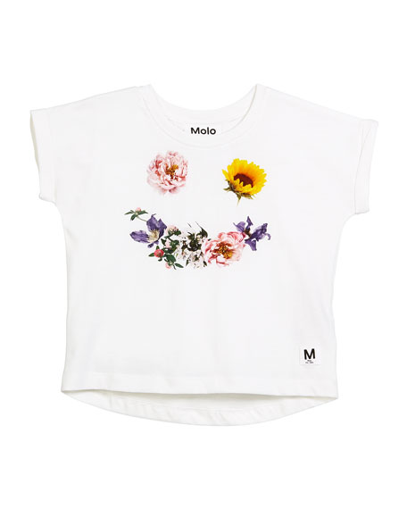 Rachelle Short-Sleeve Flower Smiley Face T-Shirt, Size 2-10