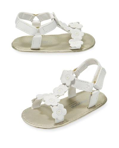 Faux-Leather Sandal w/ Flower Appliques, Baby