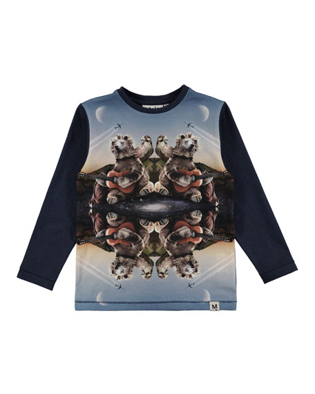 Molo Rexol Kaleidoscope Bear Long-Sleeve T-Shirt, Size 4-10
