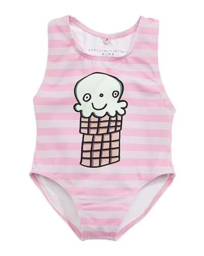 Molly Striped Ice Cream One-Piece Swimsuit, Size 12-36 Months