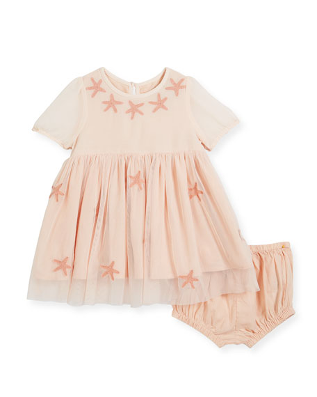 Maria Tulle Star-Patched Dress w/ Bloomers, Size 6-36 Months