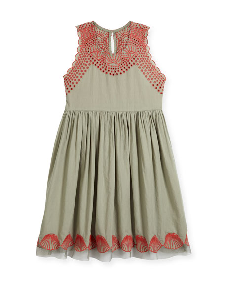 Bay Sleeveless Embroidered Dress, Size 4-14