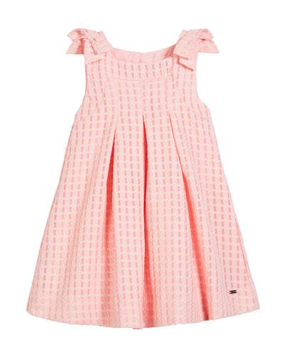 Windowpane Box-Pleat Dress, Size 12-36 Months
