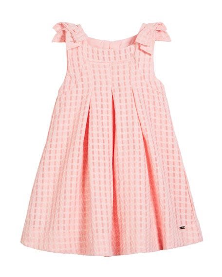 Windowpane Box-Pleat Dress, Size 12-36 Months