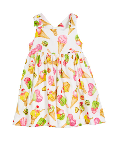 Ice Cream Print Sleeveless Dress, Size 12-36 Months