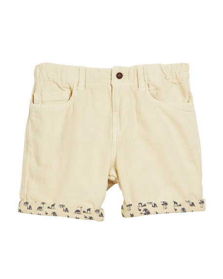 Mayoral Cotton-Blend Shorts w/ Safari-Print Cuffs, Size 12-36