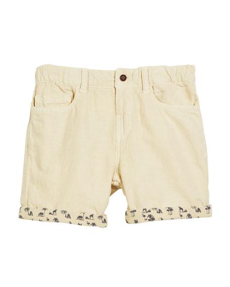 Cotton-Blend Shorts w/ Safari-Print Cuffs, Size 12-36 Months
