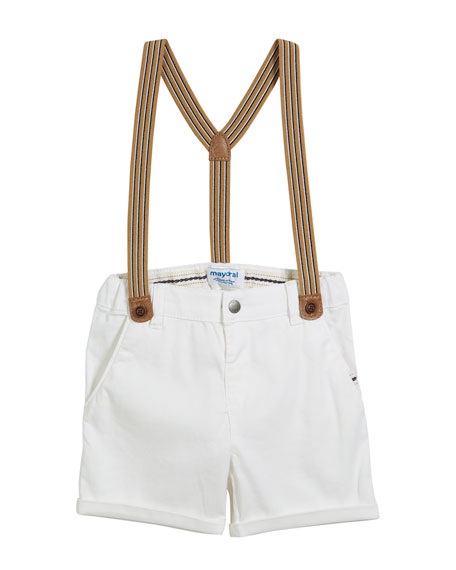 Mayoral Chino Shorts w/ Suspenders, Size 12-36 Months