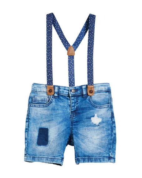 Mayoral Distressed Denim Shorts w/ Suspenders, Size 12-36
