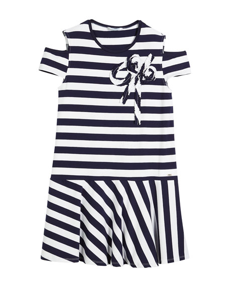 Cold-Shoulder Stripe Dress, Size 8-16