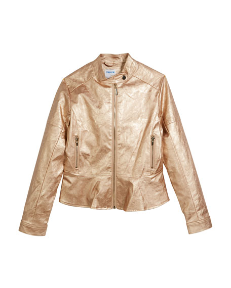 Mayoral Metallic Peplum Faux-Leather Jacket, Size 8-16