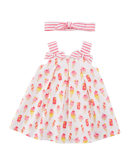 Mayoral Ice Cream Print Dress w/ Matching Headband,
