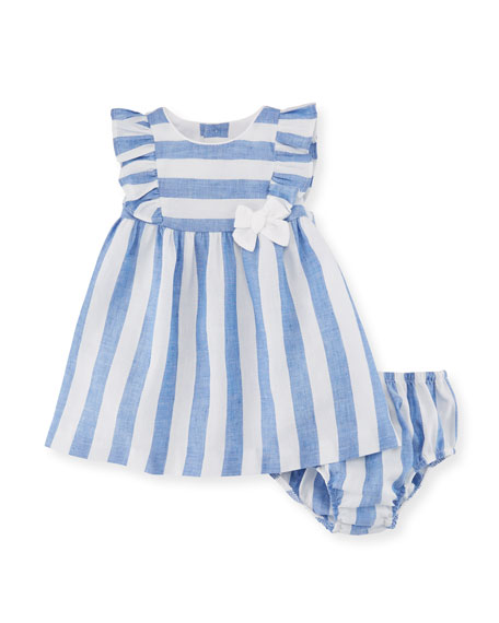 Wide-Stripe Dress w/ Matching Bloomers, Size 2-12 Months