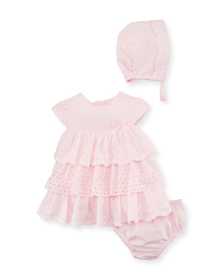 Mayoral Multi-Lace Ruffle Dress w/ Bloomers & Bonnet,