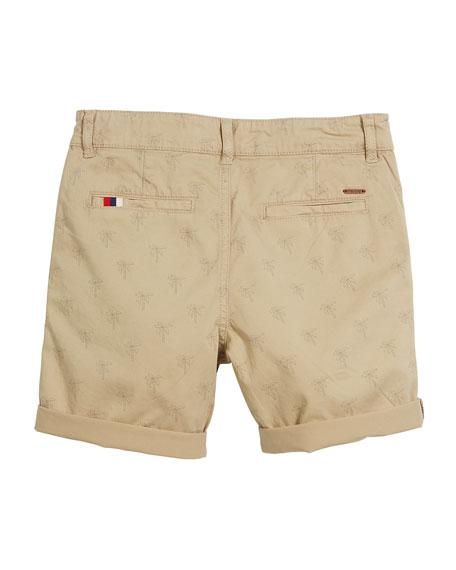 Palm Tree Cotton-Stretch Shorts, Size 4-7