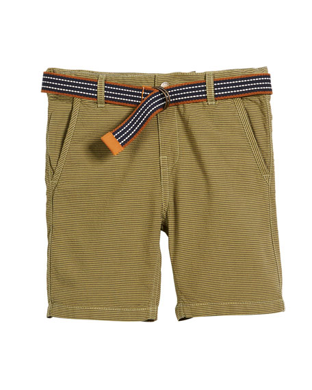 Mayoral Striped Cotton Shorts w/ D Ring Belt,