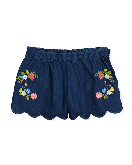 Embroidered Denim Scallop-Hem Shorts, Size 3-7