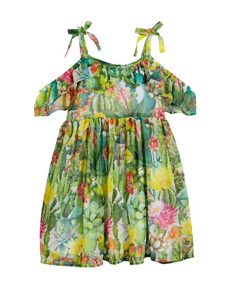 Jungle Floral Cold-Shoulder Dress, Size 3-7