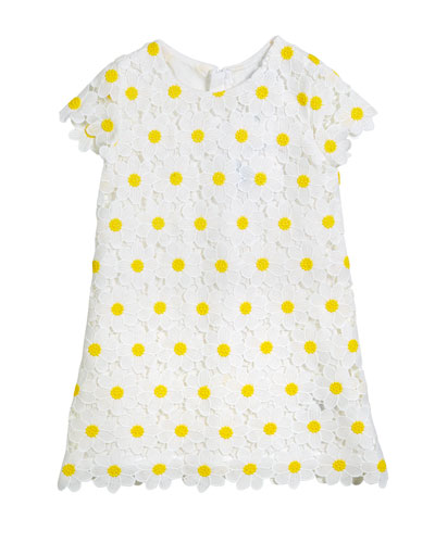 Daisy Lace Embroidered Dress, Size 3-7