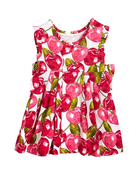 Cherry-Print Pique Dress, Size 3-7