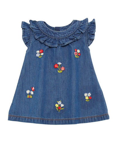 Floral Embroidered Denim Dress, Size 6-36 Months