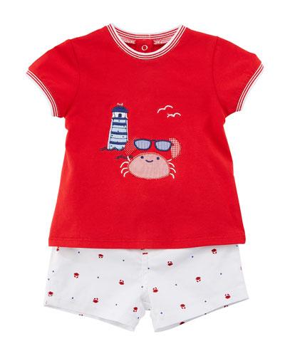 Short-Sleeve Crab T-Shirt w/ Matching Shorts, Size 2-12 Months