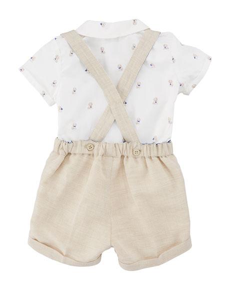 Puppy-Print Button-Down Shirt w/ Suspender Shorts, Size 2-12 Months