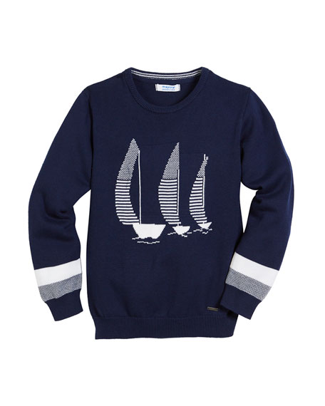 Sailboat Intarsia Long-Sleeve Sweater, Size 4-7