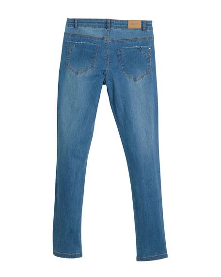 Distressed Jeans w/ Floral Appliqués, Size 8-16