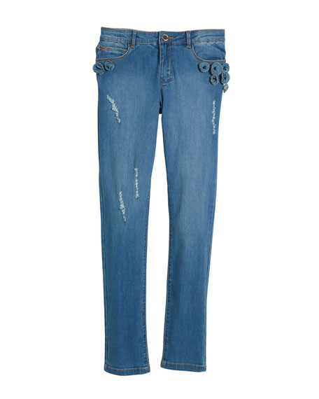 Mayoral Distressed Jeans w/ Floral Appliqu??s, Size 8-16