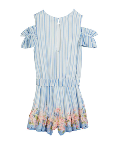 Flower & Stripes Cold-Shoulder Romper, Size 8-14