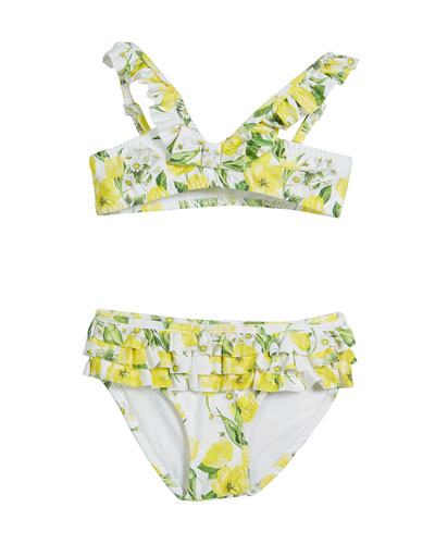 Floral Two-Piece Ruffle Swimsuit, Size 3-7