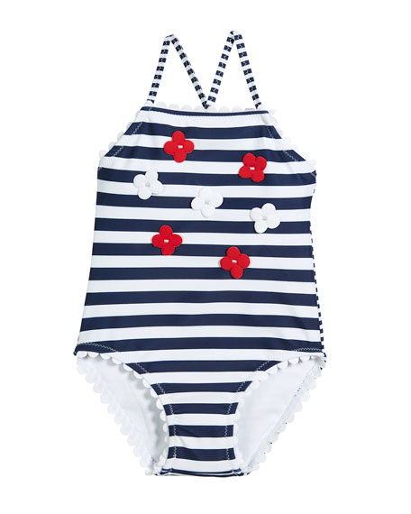 Stripe One-Piece Swimsuit w/ 3D Flowers, Size 3-7