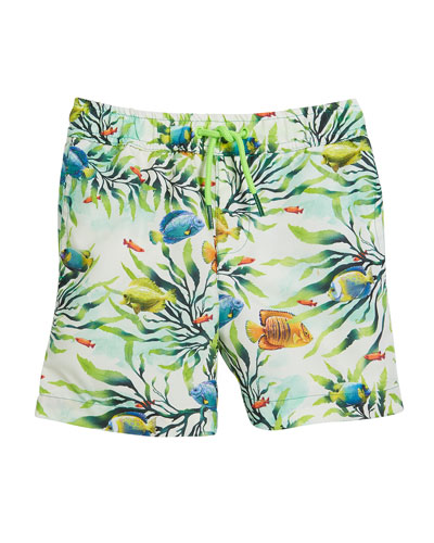 Fish-Print Swim Trunks, Size 3-7