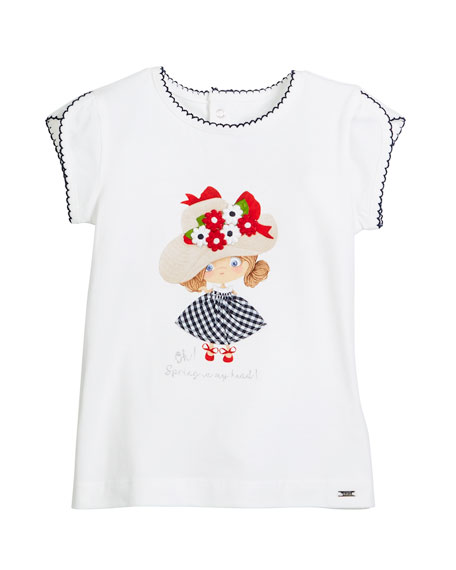 Scalloped-Trim Girl-Print T-Shirt, Size 12-36 Months