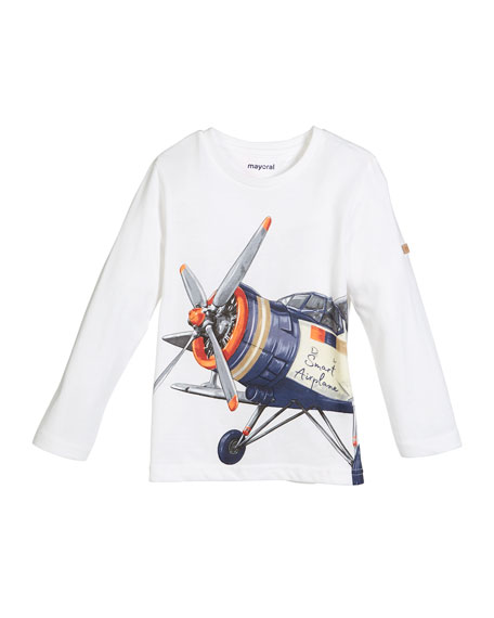 Long-Sleeve Propellor Plane T-Shirt, Size 3-7