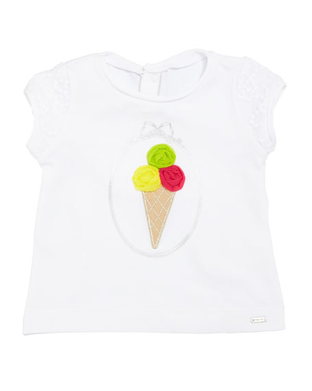 Mayoral Lace-Sleeve 3D Ice Cream T-Shirt, Size 6-36